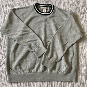 Gray crew sweater with navy and white ringer
